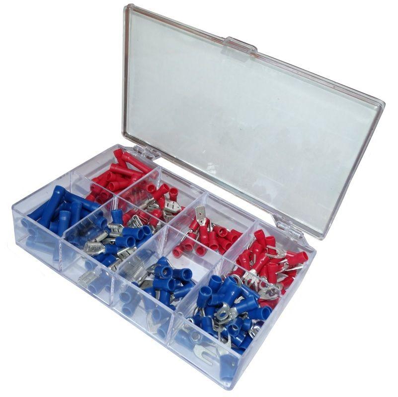 Assortiment de 150 cosses /électriques plat cylindrique oeuil fourche bleu rouge jaune Aerzetix