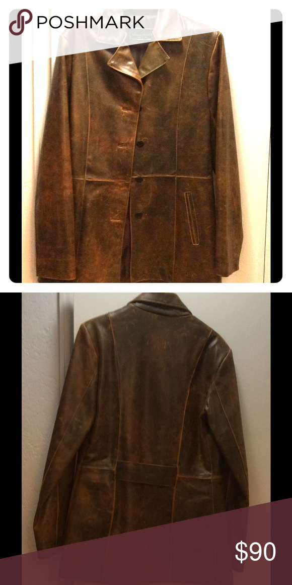 Brown distressed leather lightweight jacket. Brown distressed leather jacket. Genuine leather purchased in Italy. Lined. Light weight. Excellent condition. Vera Pelle Jackets & Coats