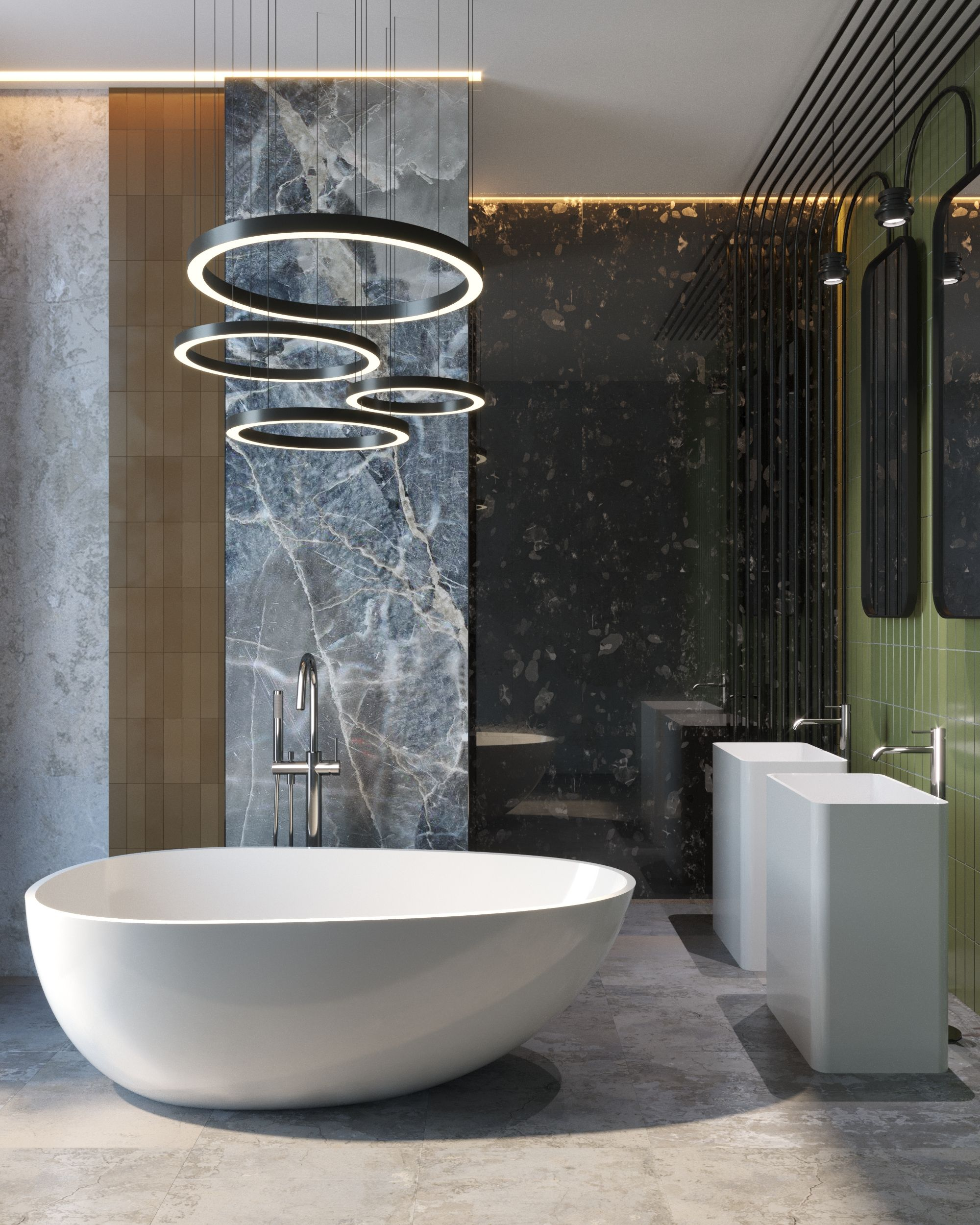 A Unique Modern Look Featuring Smooth Circular Lighting Matching Marble Walls And Freestanding Tub Modern Toilet Toilet Design Modern Simple Bathroom