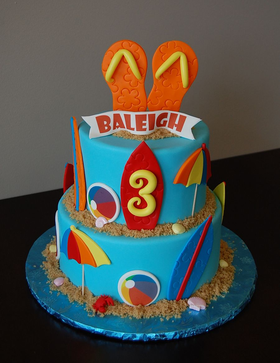 Beach Themed Birthday Cake With Fondant Flip Flops Topper And Surf