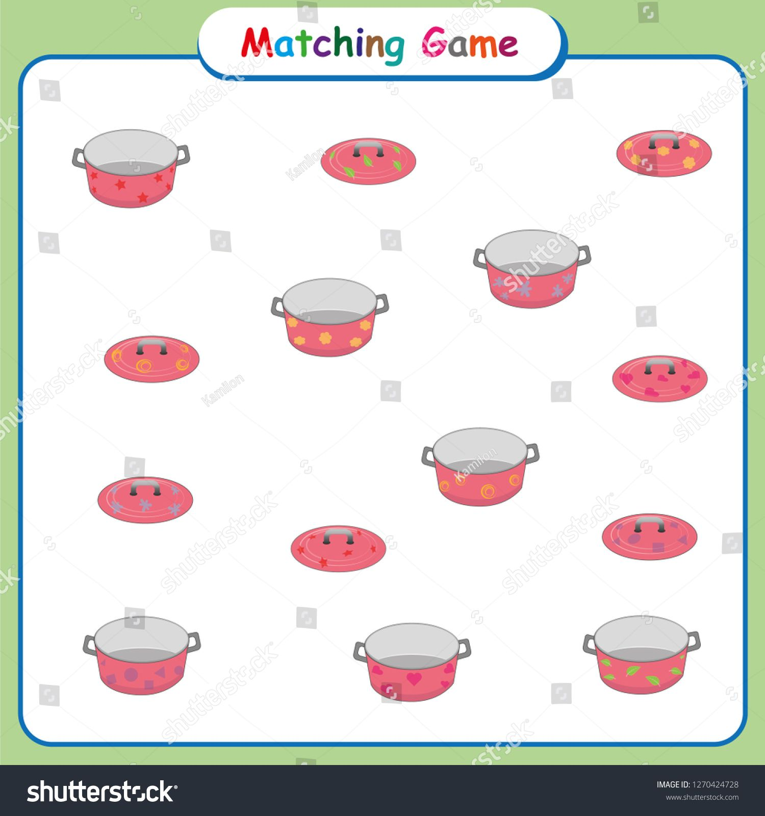 Matching Game For Kids Worksheet For Preschool Children