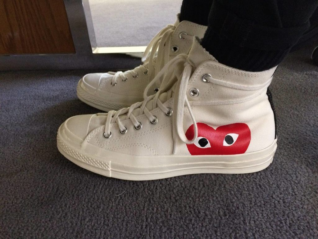 Buy cdg converse high white > 57% off!