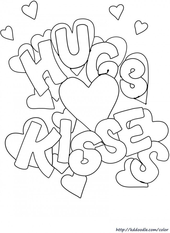 Hugs And Kisses Valentine Coloring Pages Valentines Day Coloring Page Printable Valentines Coloring Pages