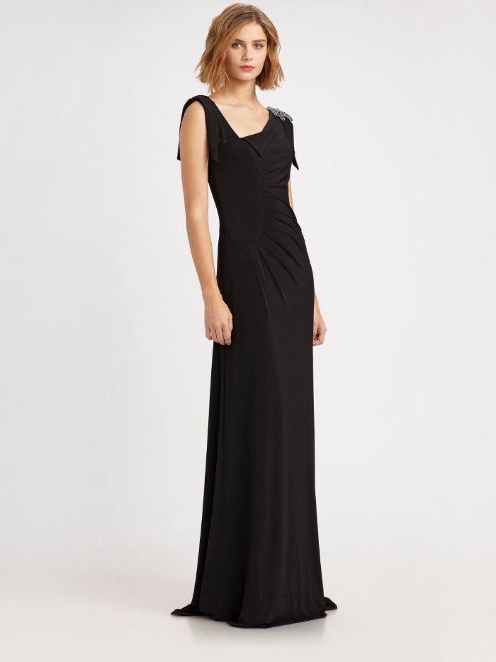 $412 David Meister Black Matte Jersey Asymmetric Beaded Shoulder Gown