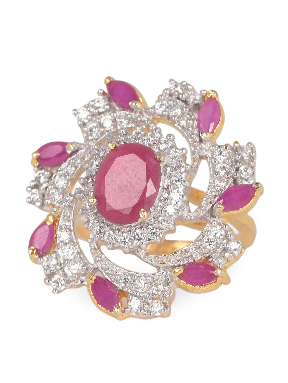 Pink American Diamond With Ruby Ring - Onlinemaniya | Jewelry ...