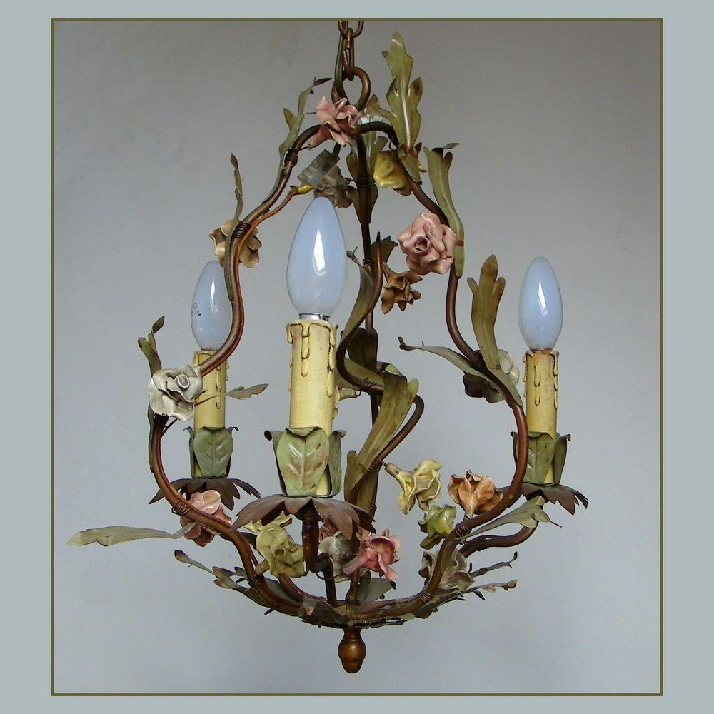 Antique Italian Porcelain Tole Roses Ceiling Light Fixture Cage Chandelier Vtg