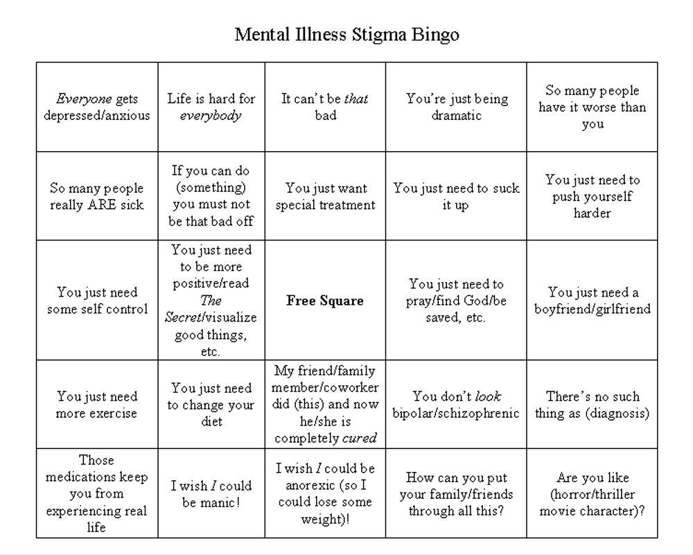 Mental Illness Stigma Bingo I Got Them All Almost Therapy