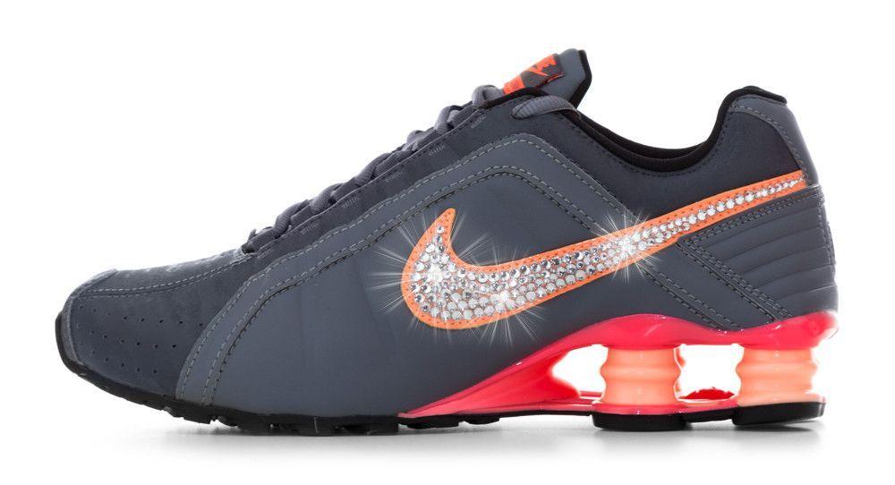 708123401e211f Nike Shox in grey and orange with Swarovski swoosh