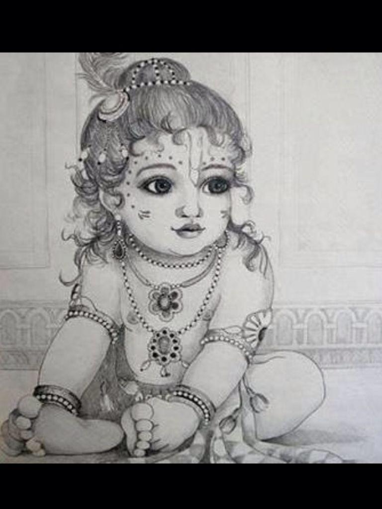 Baby Krishna Drawing Art In 2019 Krishna Drawing Krishna Art