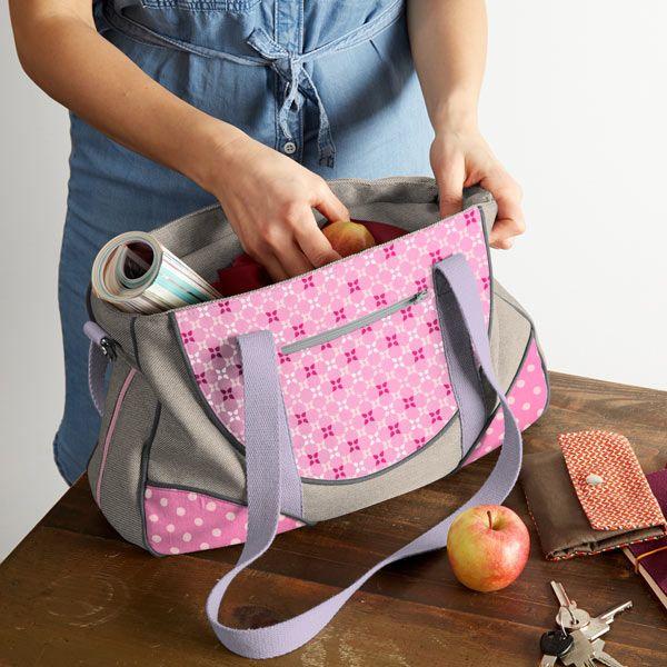 Nähpaket Schnabelina Bag grau - rosa - grau | Schnabelina -Taschen ...