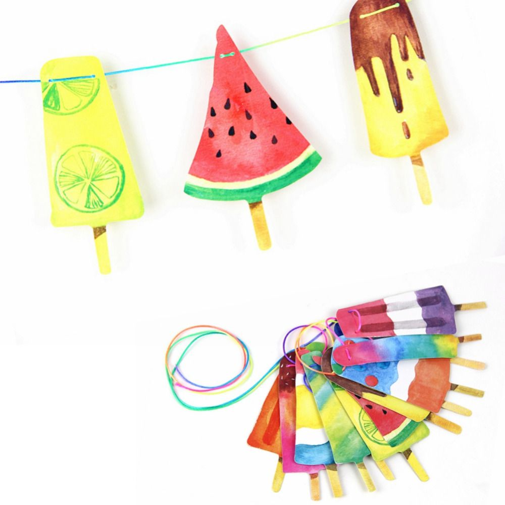 Hand Painted Colorful Popsicle Banner Ready for Summer Party Ice ...