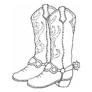 Western Boots Coloring Page