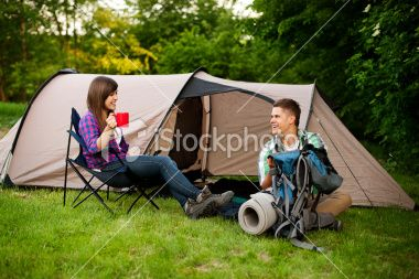 Young couple camping Royalty Free Stock Photo