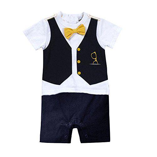 Neal LINK Baby Boy Pinstriped Formal Party Wedding Tuxedo Suit Vest Set Romper