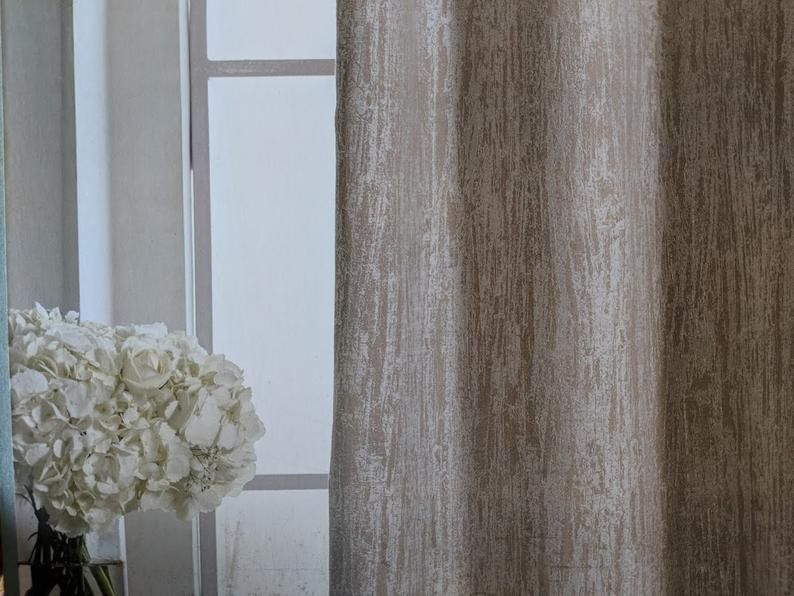 Silk And Satin Collection Curtain Panels And Cushions Set Etsy