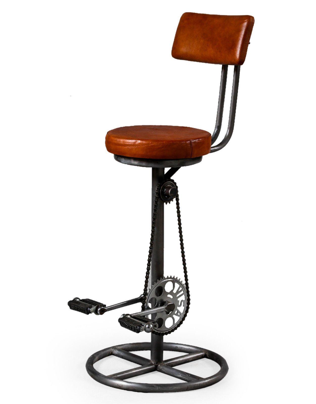 Strange Retro Antiqued Leather Iron Bicycle Pedal Bar Stool With Evergreenethics Interior Chair Design Evergreenethicsorg