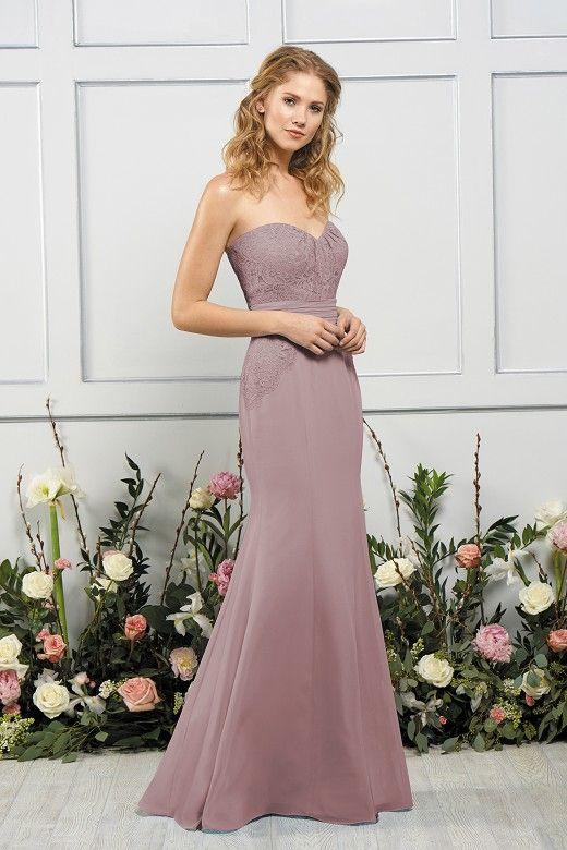 bfa8b501f5743 B193054 Long Sweetheart Neckline Lace & Poly Chiffon Bridesmaid Dress