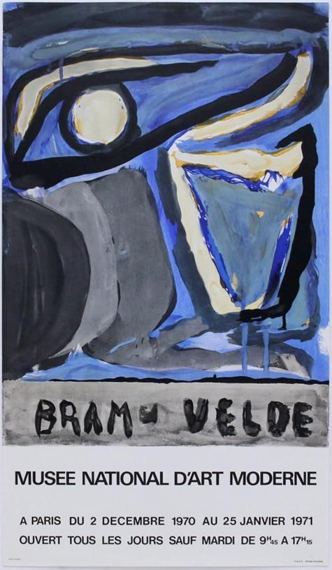 1971 GEER VAN VELDE Abstract Exhibit Poster PARIS Musee Moderne Lithograph #10 #Abstract