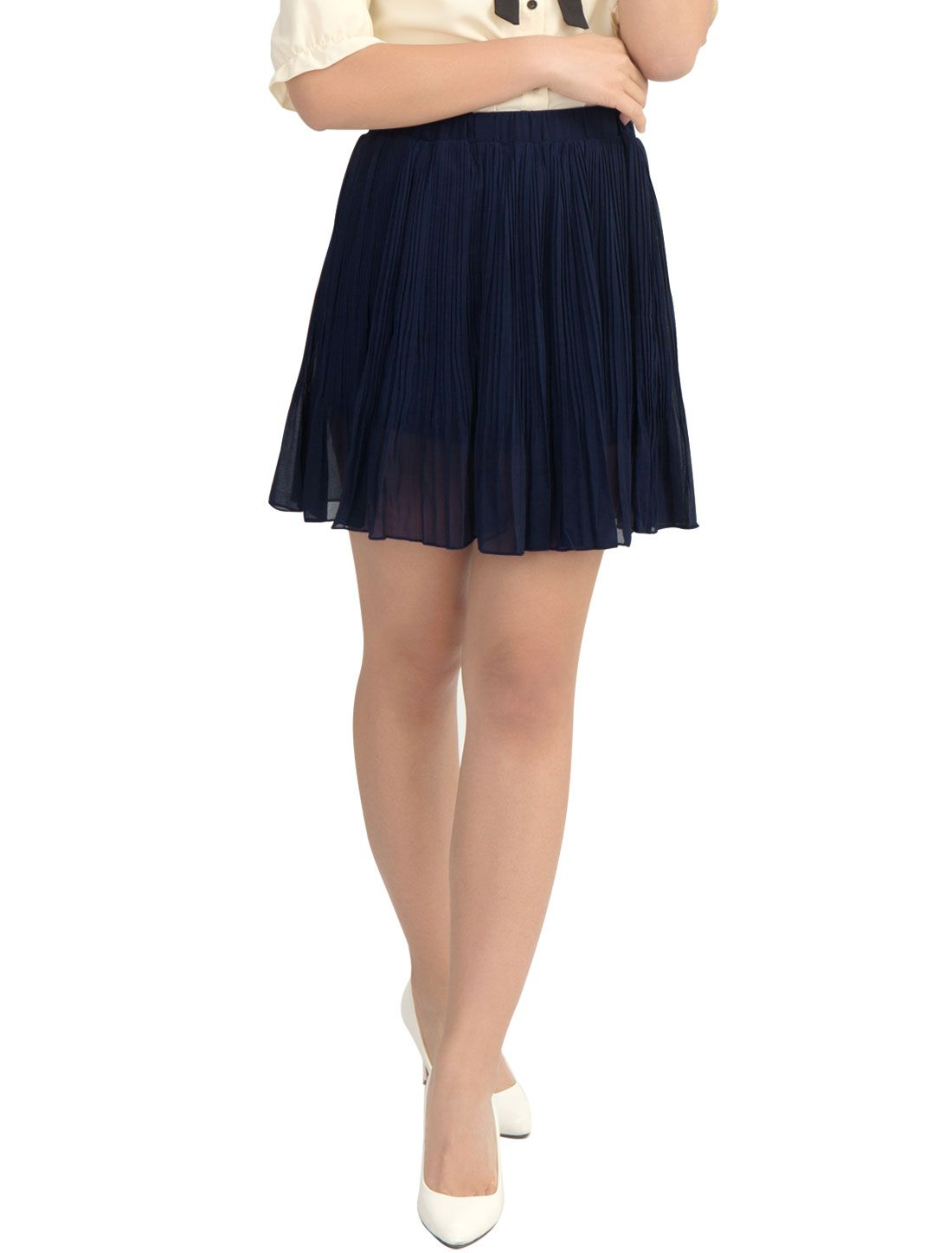 6e6705936 Women's Summer Cinched Waist Chiffon Pleated Mini Skirt Black (Size M / 10)  Black