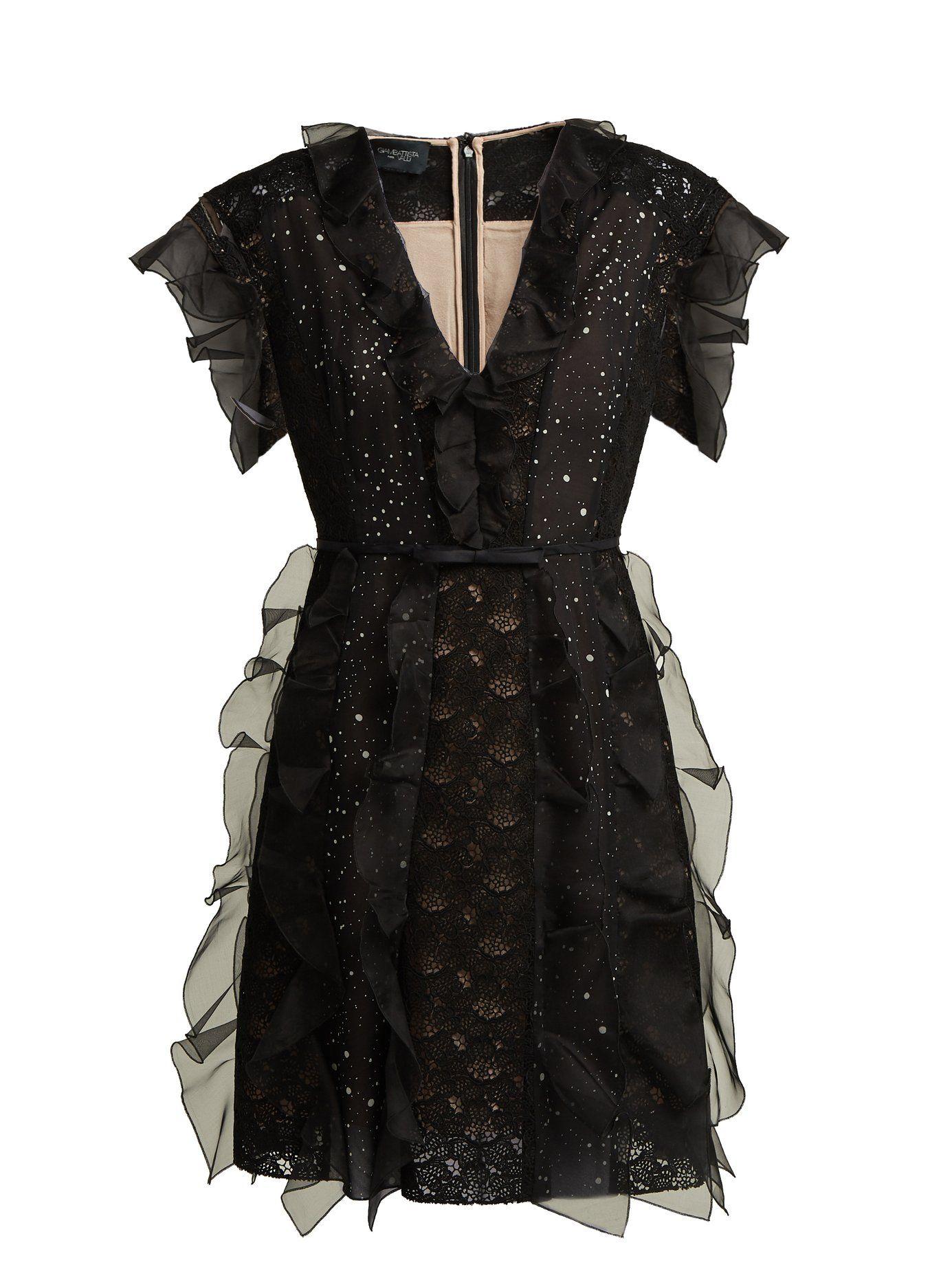 cb038c8fa975 Ruffled lace-panelled silk dress | Giambattista Valli | MATCHESFASHION.COM  UK