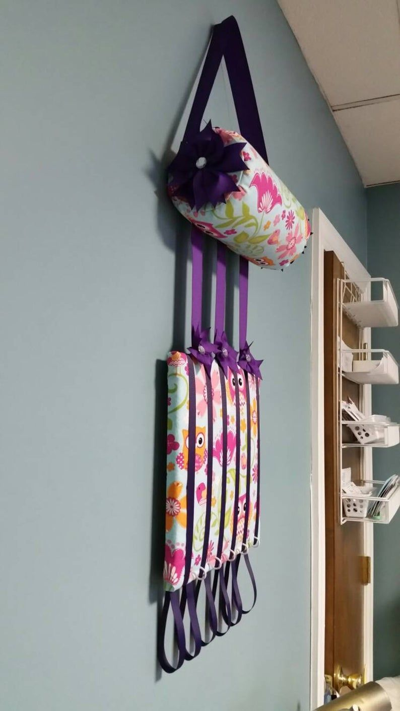 Headband Holder or head band holder hairbow organizer board owls and purple ribbon Handmade combination holder