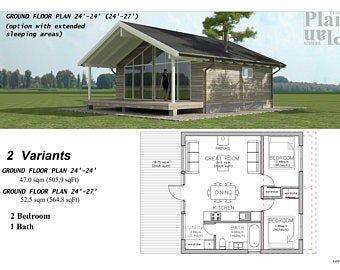 24x32 House 1 Bedroom 1 5 Bath 851 sq ft PDF Floor Plan Instant Download Model 7D