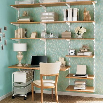 Space Saving Elfa Shelf And Desk From The Container Store Office Shelving Home Office Organization Small Space Office
