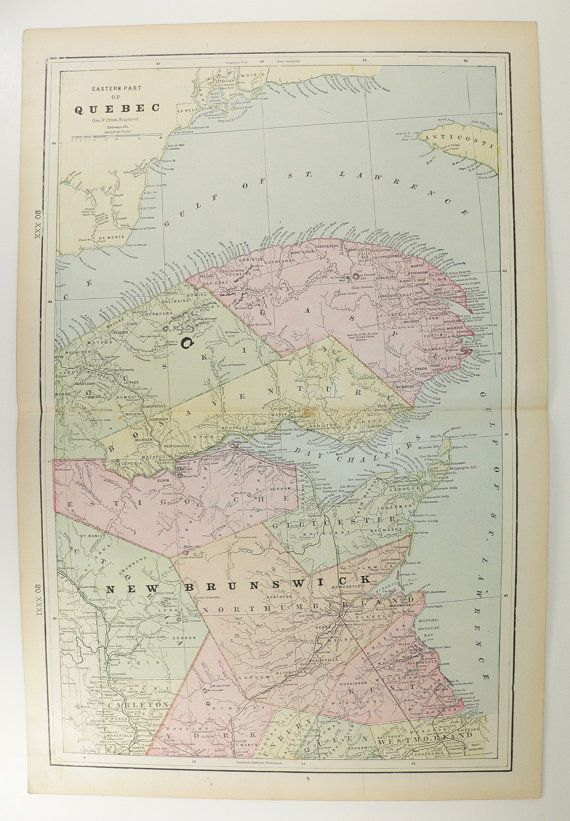 East Quebec Map Canada NE New Brunswick Map Canada Travel Map - Old map of canada