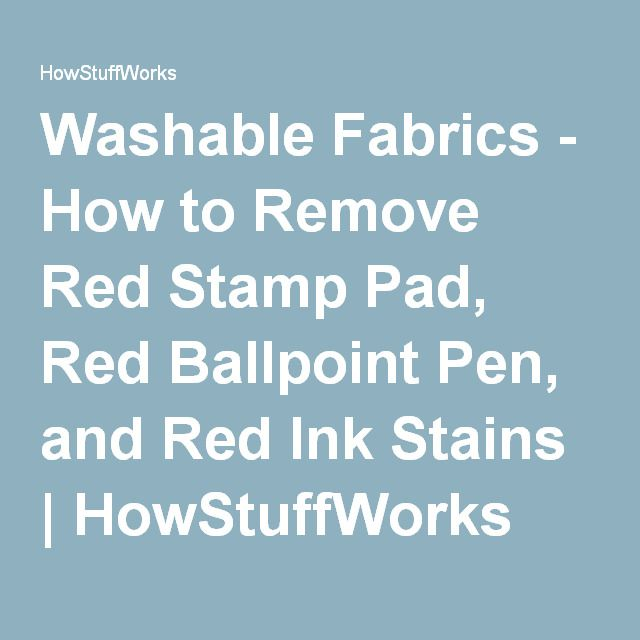 How To Remove Red Stamp Pad Red Ballpoint Pen And Red Ink Stains