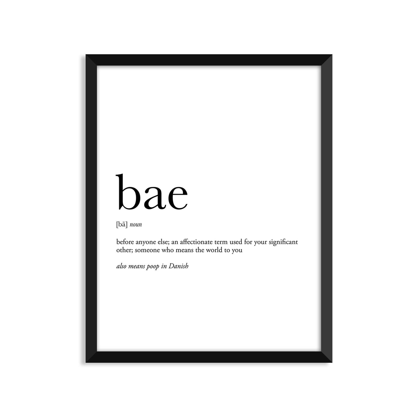 Bae definition romantic dictionary art print office decor | Etsy