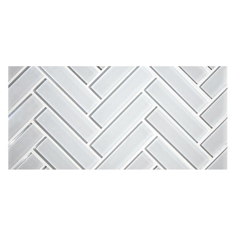 Glass Expressions Tile Herringbone Glass Mosaic Polaris White