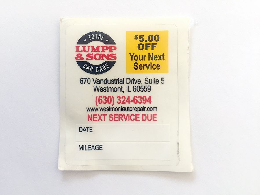 Lump Sons Oil Change Stickers Jpc Chicago Printing