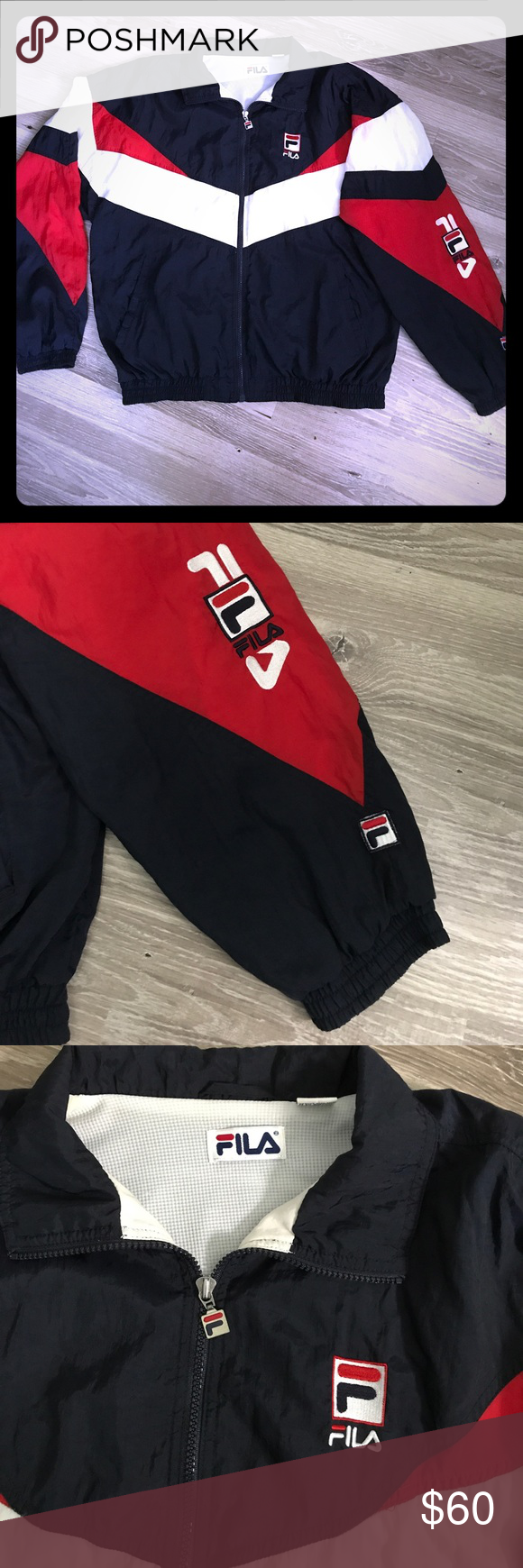 294c188db201 Fila vintage windbreaker Vintage 90s Fila red white and blue for your dude!  So much flare for people to stare at.10 10 Fila Jackets   Coats Windbreakers