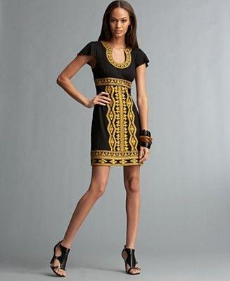 Inc International Concepts Petite Short Sleeve U Neck Embroidered