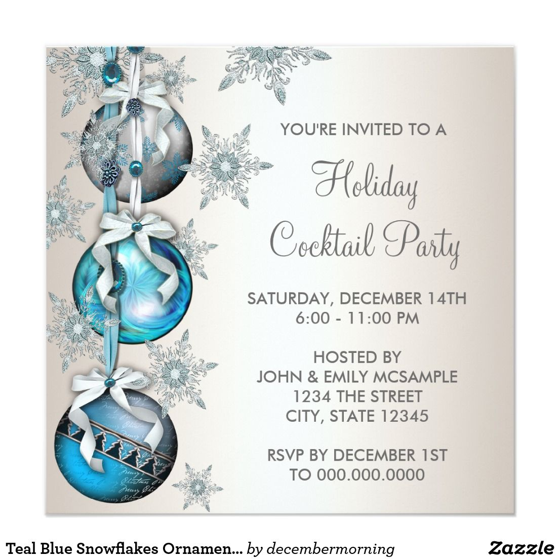 Teal Blue Snowflakes Ornaments Christmas Party | Corporate ...