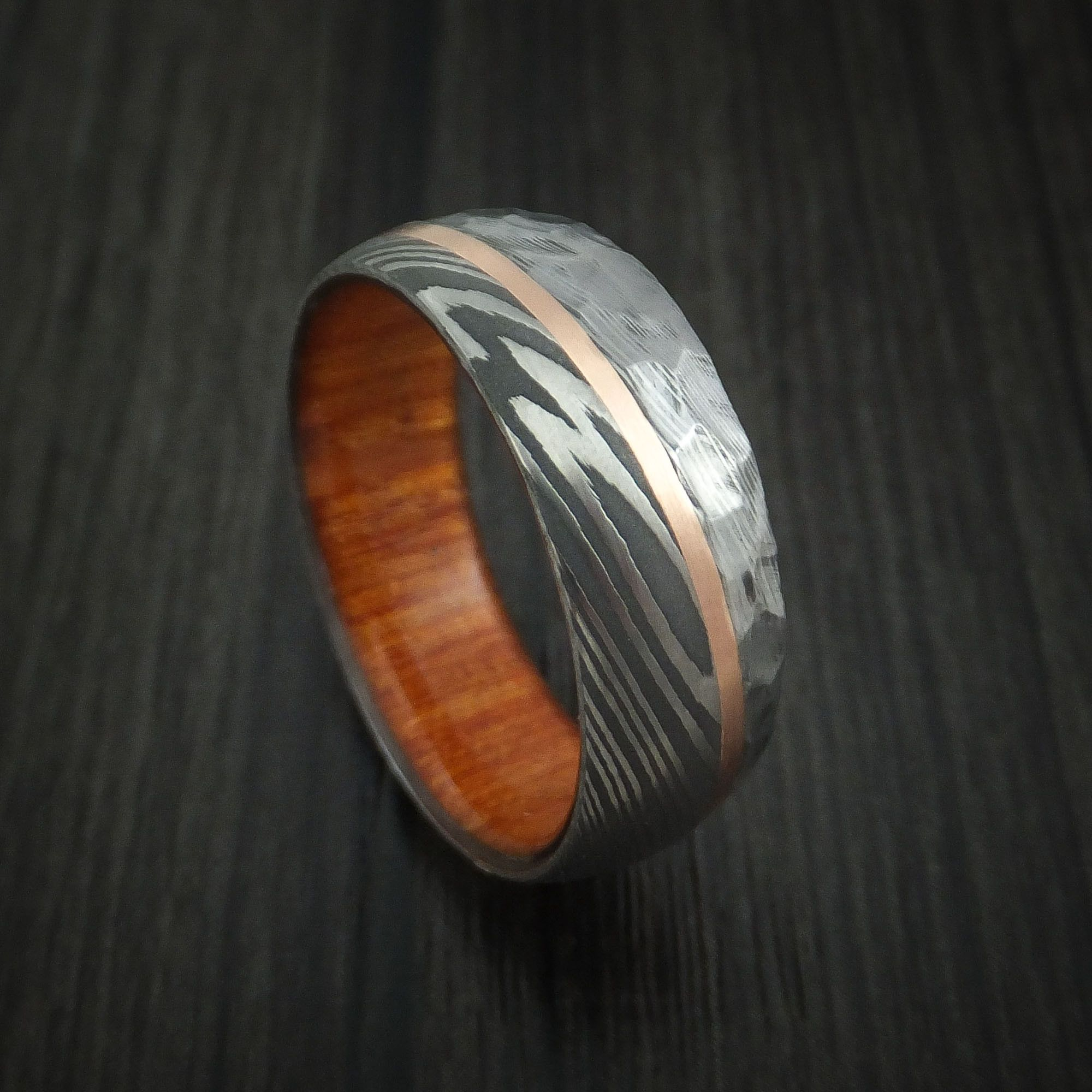 Damascus Wood Ring Wood Wedding Band Wooden Wedding Band Wooden Ring Damascus Steel Ring Damascus Steel Wedding Band Bocote Wood Ring
