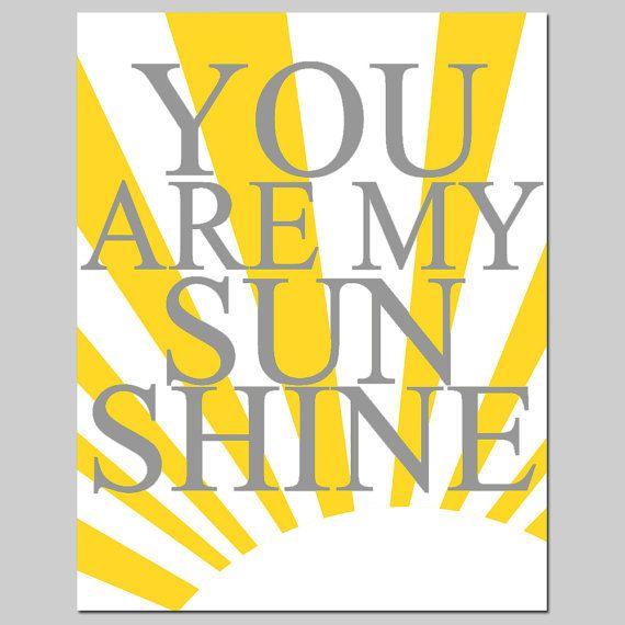 You Are My Sunshine - 11x14 Print - Modern Nursery Art - Kids Wall ...