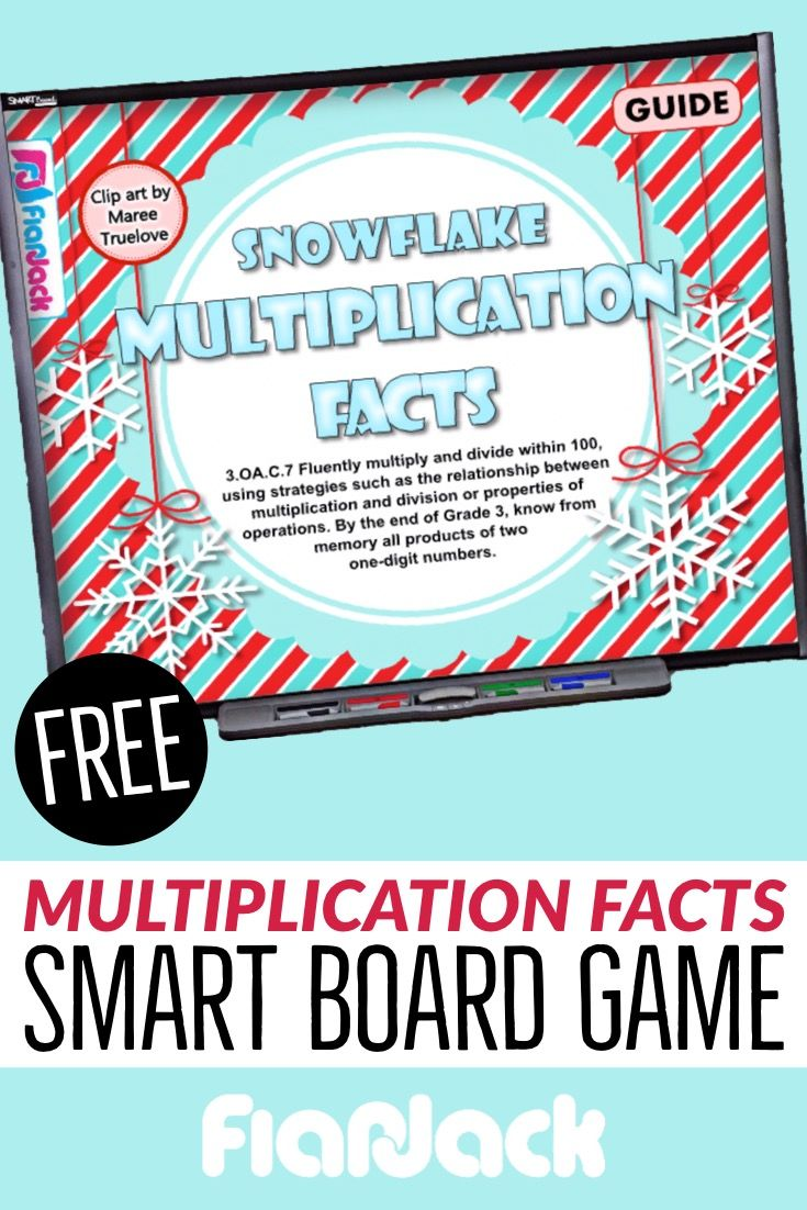 Snowflake Multiplication Facts Smart Board Game Free Flapjack