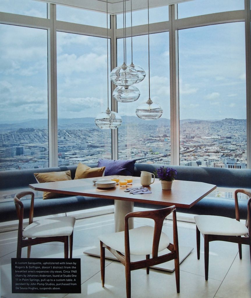 Kitchen with a view. John Pomp pendants and floating banquette ...