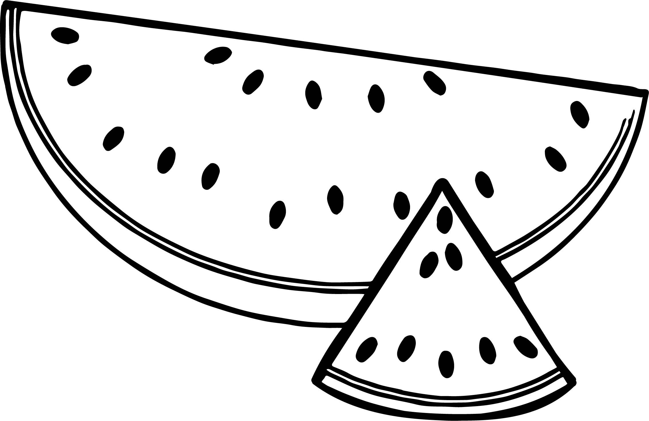 A Sliced Summer Watermelon Half And Triangle Coloring Page Fruit