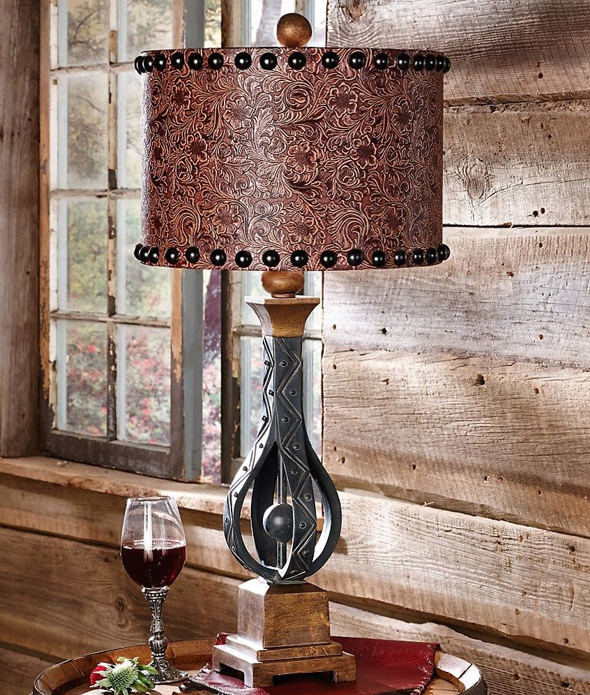 Western Side Table Lamps With Tooled Leather Shade