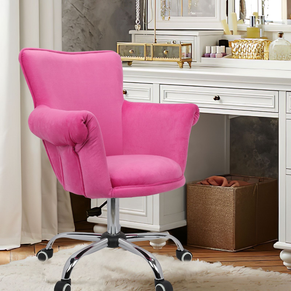 Magshion Deluxe Microfiber Office Desk Chair Bar Stool Beauty Nail Salon Spa Vanity Seat Pink Walmart Com In 2020 Vanity Seat Office Desk Chair Pink Desk Chair
