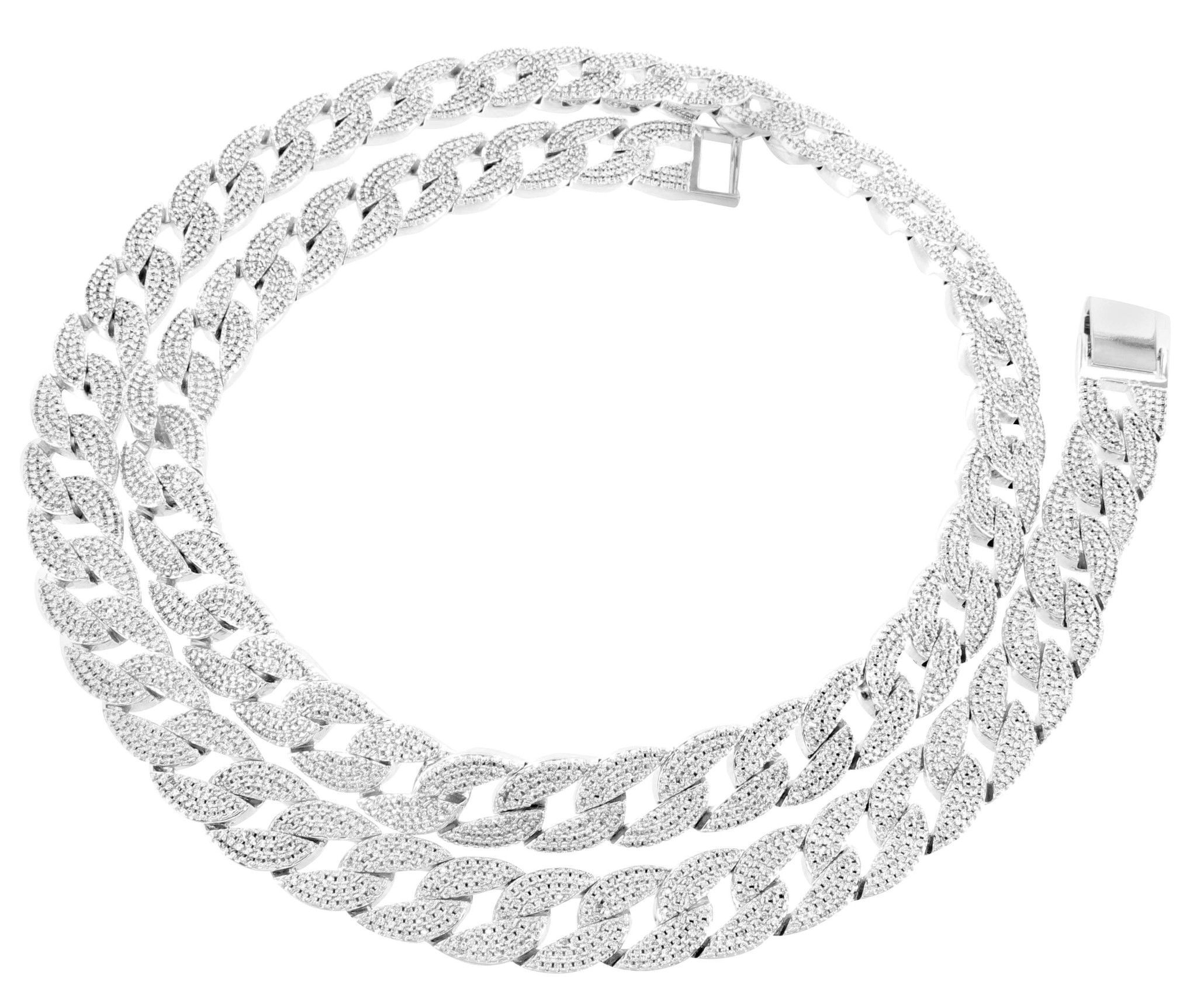 Mens 14k White Gold Finish Miami Cuban Necklace Lab Diamond