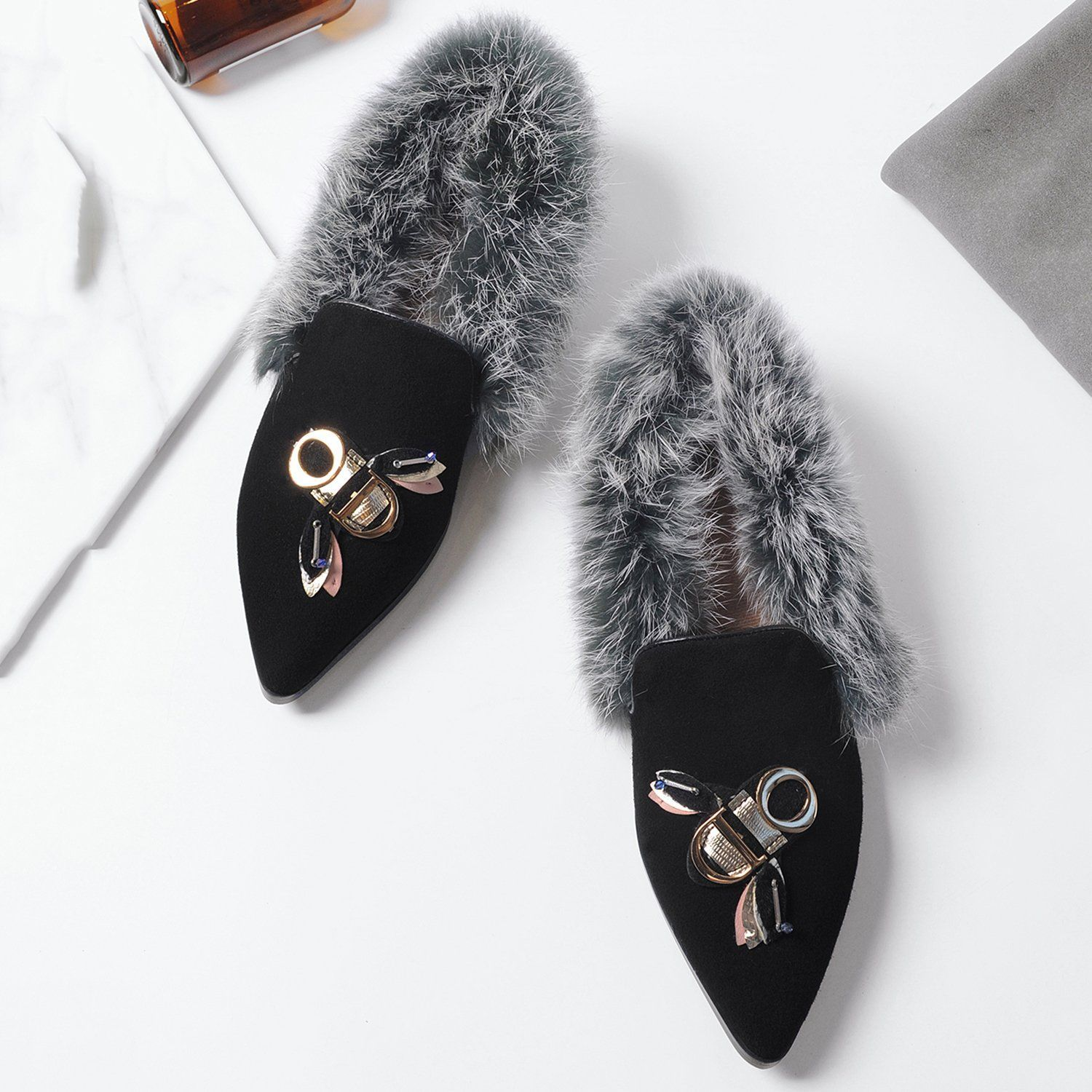 Women's Faux Fur Flat Shoes Loafer
