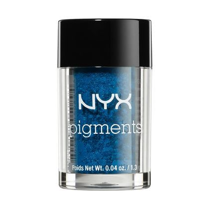 "Play up your eyes with NYX Cosmetics Pigments which are super saturated and has a touch of sparkle. The shade ""Constellation,"" is a beautiful deep blue with a touch of shimmer."