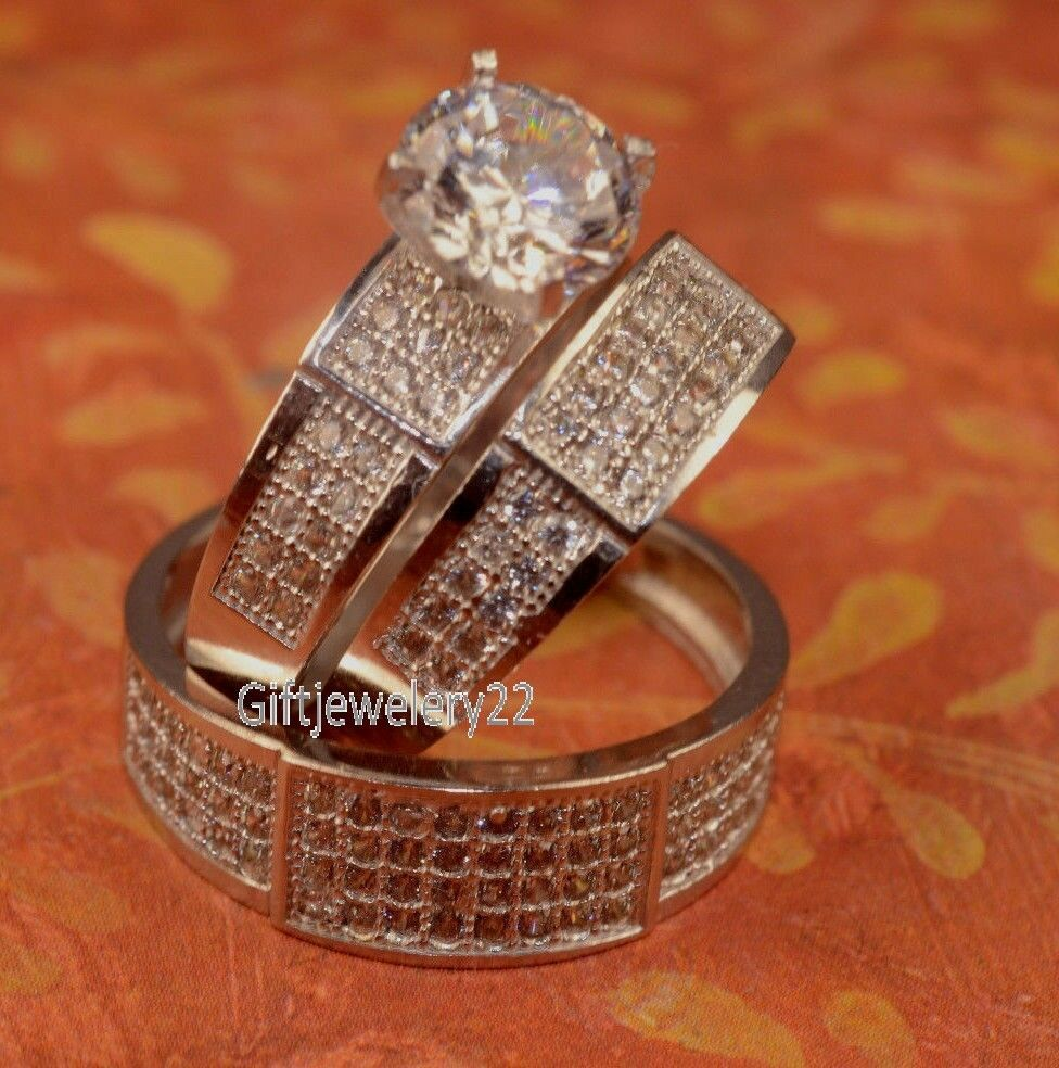 3CT D VVS1 Diamond Engagement Ring Wedding Trio Set His /& Her 14K Yell Gold Over