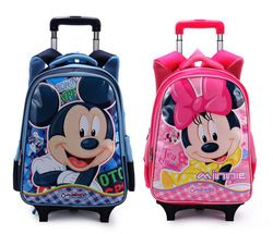 Online Shop Children Trolley Bags for School Backpack Mickey Mouse Minnie  Girls Travelling Trolley Luggage for Kids Cute Book Bags on  Wheels