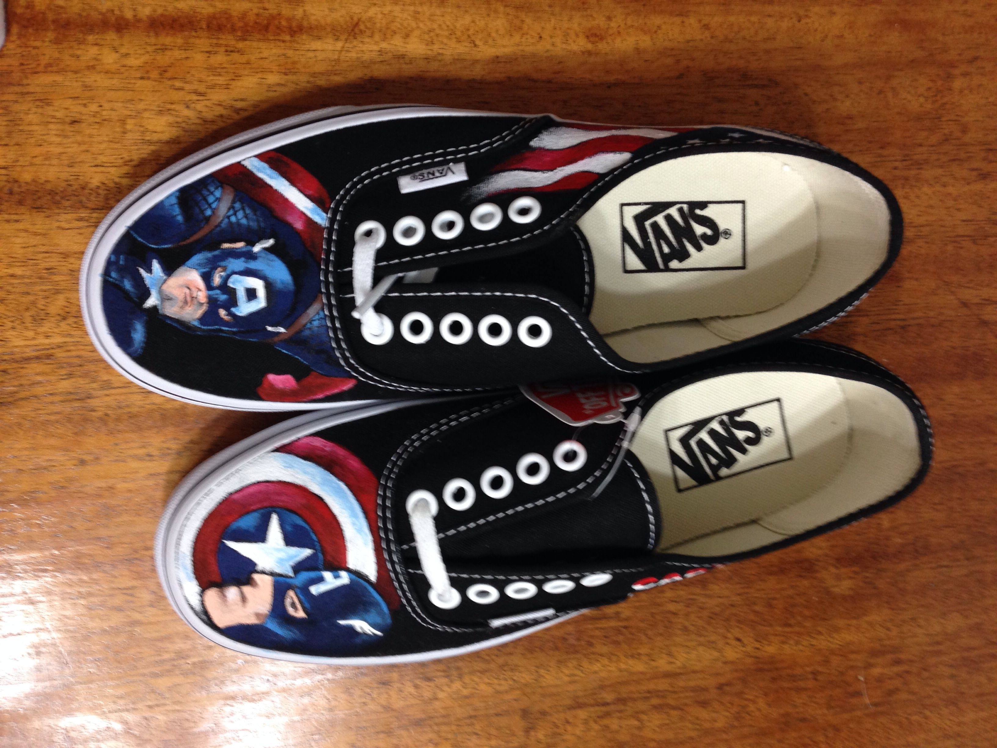 a6988c5387 Captain America! Painted on a new pair of vans for my step daughter for  Christmas