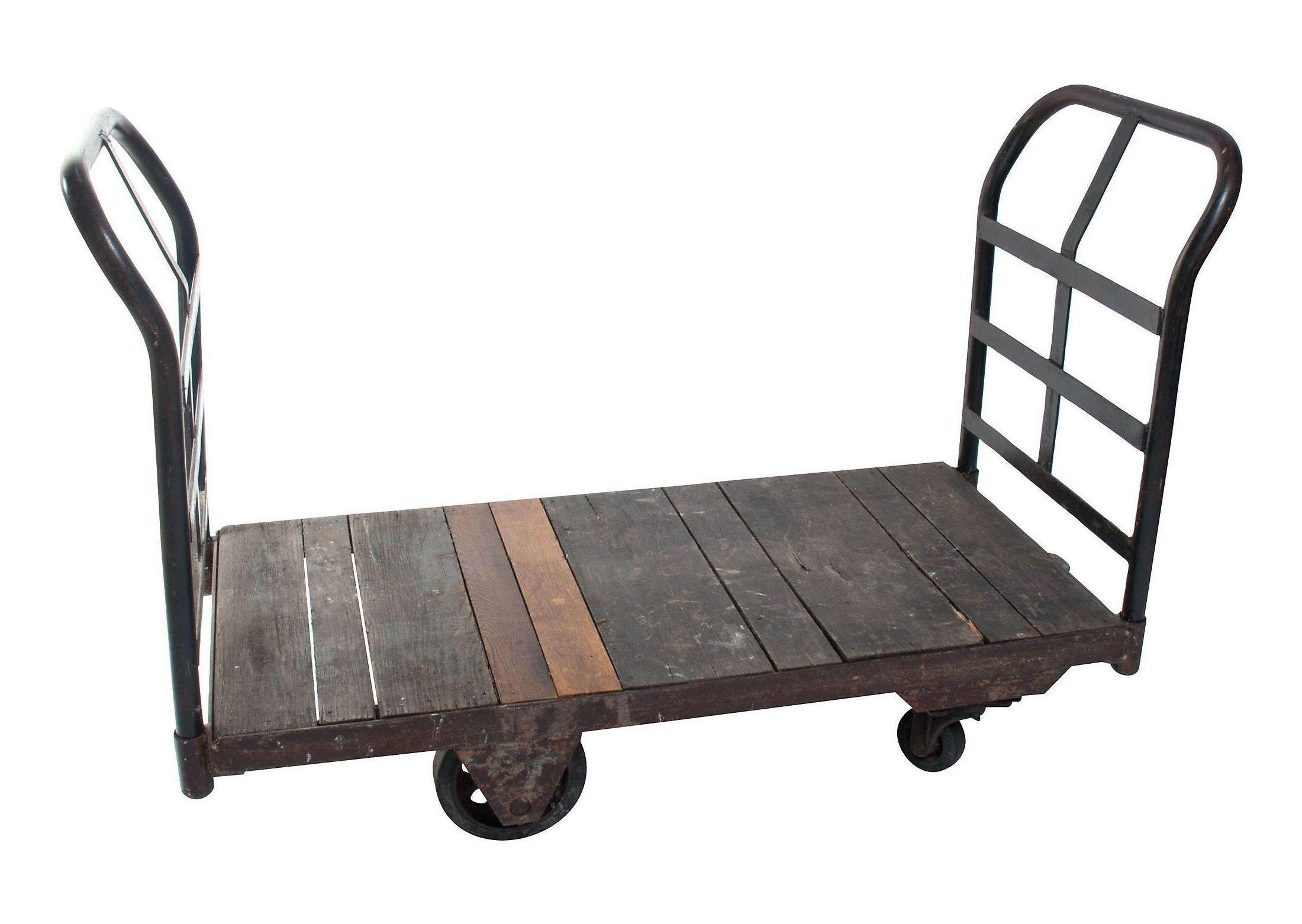 Antique industrial cargo cart unique coffee table industrial metal industrial cargo cart on caster wheels is perfect for just about anything we picture it stacked with art or fashioned into a unique coffee table geotapseo Gallery
