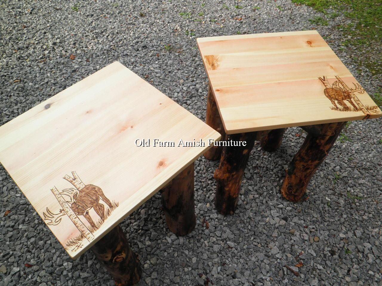 Aspen Buck Burnt End Tables/Nightstands Old Farm Amish Furniture   Dayton,  PA (